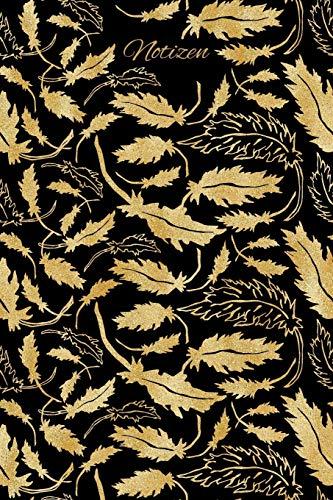 Notizen: Gold Blätter Ornament Tagebuch / Journal mit 120 leeren karierten Seiten für deine Notizen, Gedanken, Aufgaben, Gedichte und Ideen.