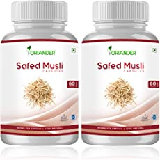 oriander 100% natural, pure & organic safed musli for fit and healthy life 800 mg 60 capsules (Pack Of 2)