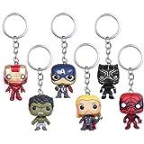 INTVN 6 Pcs Marvel Superh Porte-clés Superh The Avengers Deadpool Pendentif Porte-clés Noir Panthère Porte-clés Thanos Porte-