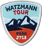 2 x Watzmann Abzeichen 55 x 60 mm gestickt / Watzmann Bergtour Bergsteigen Wandern Klettersteig Klettern / Aufnäher Aufbügler Sticker Patch für Kleidung Rucksack / Wanderführer Tourenkarte Karte