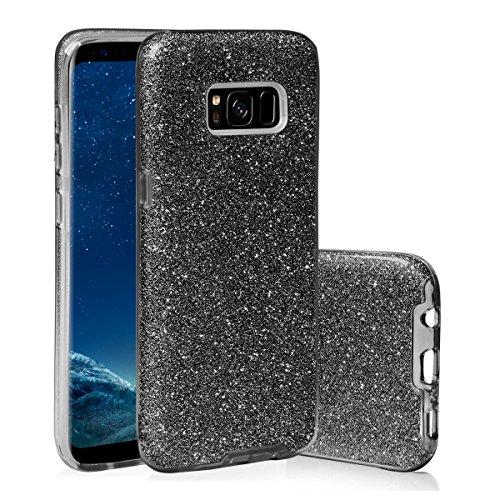 EGO ® Glitzer Schutzhülle für Samsung G930 Galaxy S7, Gold Back Case Bumper Glänzend Transparente TPU Bling Weiche Glamour Handy Cover Lipgloss Schwarz