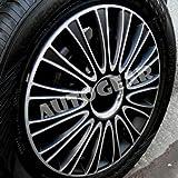 "16"" inch AS Black Silver Multi Spoke Sports Look Car Wheel Trims Hub Cap Covers Set of 4"