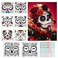 Temporary Face Tattoos,ZERHOK 8pcs Halloween Makeup Stickers Day of The Dead Skull Floral Black Skeleton Spider Web Red Rose for Men Women Adult Kid Halloween Masquerade Bachelor Party Fright Night