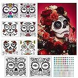 Tatuaje cara temporales Halloween ZERHOK 8pcs etiqueta Mascarada diseño cráneo con gemas cara mujer adhesivas para maquillaje en Halloween día de muerto y baile de disfraz para mujer hombre y niños