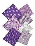 7pcs Stoffpaket 100% Baumwollstoff Patchwork Bedruckt Stoff zum Nähen Stoffreste 50 x 50cm für Kinder DIY Handwerk Scrapbook Quilten Violett