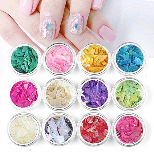 ZXLIFE Nagelglitzer für Nail Art, ultradünn, Japanischer Stil, 12 Farben, Seashells, Thin Abalone Crush, Mehrfarbig, Nail Patch Dekoration mit Pailletten