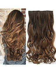 Neverland 24 pouces (60cm) de Full Clip Tete dans les extensions de cheveux ondules boucles Ombre dip-dye 8#/27#