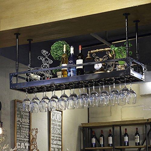 MoDi Weinregale Wein Bar Einfachen Stil Eisen Hängende Weinglas Rack Decke Dekoration Regal Bars, Restaurants, Küchen (größe : 120 * ()