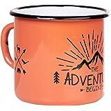 Adventure begins   Tazza smaltata di MUGSY in colore corallo arancione   Design esterno   Tazza smaltata robusta e leggera pe