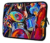 Snoogg Drum And Bass Painting 10' 10.5' 10.6' inch Laptop Notebook Slipcase Sleeve Soft Case for Macbook Pro Acer Asus Dell Hp Sony Toshiba