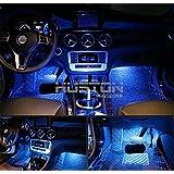 Aution House la Iluminación LED de 4 Pcs del Interior del Coche de Abajo del Coche de la Luz Led Interior LED Auto Luces Interiores de Coches Auto Luces Interiores Ambiente (AZUL)