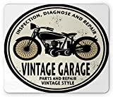Man Cave Mouse Pad by , Grunge Retro Rubber Stamp Vintage Garage Custom Motorcycle Repair Art Print, Standard Size Rectangle Non-Slip Rubber Mousepad, Black Eggshell