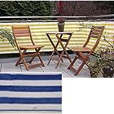 Balkon-Sichtschutz, Temperatur- und UV-bestöndig, ca. 600 x 75 cm, blau-weiss