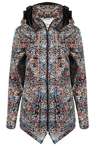 Damen Kagool Camo Jacke Tokyo Laundry Damen Blumenmuster Mantel Mit Kapuze Fischschwanz Neu - Mehrfarben - 3J9185B, 14 (Camo Regen-jacke Für Frauen)