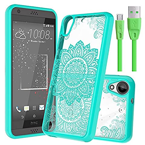 Slook HTC Desire 530 Case Come with USB Cable Slim Invisible Mandala with Air Cushion Technology and Hybrid Drop Protection for HTC Desire 530 (Mint)