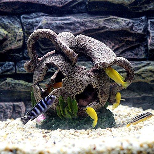 efanr Simulation Kunstharz Broken Ägyptische Vase Barrel Aquarium Landschaft Dekorationen Poly Fisch Tank Decor Ornaments Dekoration für Fisch Garnelen Sucher Hippie Shelter House Unterwasser Verstecken Cave (Gold ägyptischen Ring)