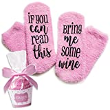Luxury Wine Socks with Cupcake Gift Packaging: Gift Idea for her with If You can Read This Bring me Some Wine Phrase - Funny Wine Accessory for Women - Birthday, Housewarming Present