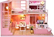 JMcall® 3D Wooden Dollhouse Furniture DIY Miniature Model Christmas Gifts Toys Best Crafts-Fashion Library Playset-Creative B