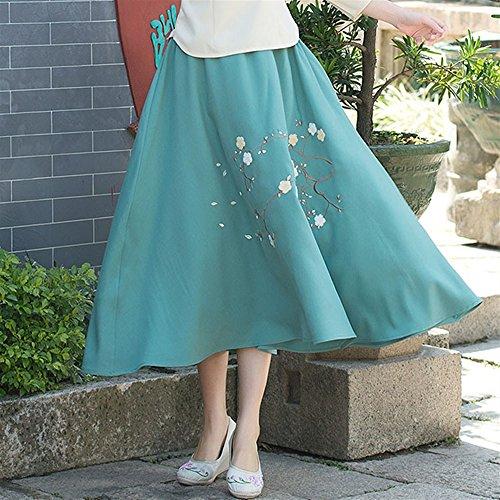 Yudanwin Dreidimensionales Handtuch Bestickt Half-Length Dress Female A-Linie Rock (Farbe : Green, Größe : Einheitsgröße)