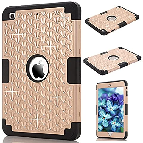 iPad Mini 1/2/3 Cover, GrandEver Dual Layer Hybrid Silicone Armor Protective Case for Apple iPad Mini 1 2 3 Full Body Tough Cover with Bling Diamond Design Silicone Bumper Outer + Hard PC Back Case Shockproof Heavy Duty Protection Shell for iPad Mini 1/2/3 --- Gold +