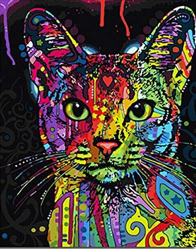 1pc Rainbow Multicolor Cat Hippie-Tier Acryl Diy Malerei Durch die Anzahl der Hobby-Kit, Home-Wandbild-Dekor-Kunst, Leinwand, Geschenk