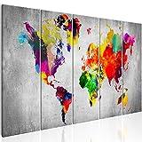 murando - Bilder 200x80 cm - Leinwandbilder - Fertig Aufgespannt - Vlies Leinwand – 5 Teilig - Wandbilder XXL - Kunstdrucke - Wandbild - Weltkarte Welt Karte Kontinent Landkarte k-A-0236-b-m