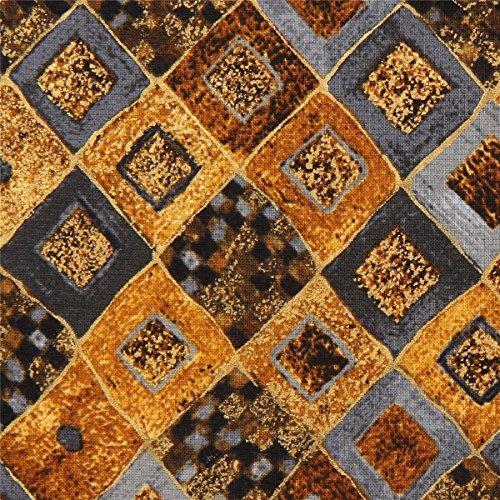 Stoff mit grauen braunen goldenen Diamanten von Robert Kaufman (Stoff Kaufman)