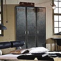 Preisvergleich für Kleiderschrank 4 Dreh-Türen B 136 cm Industrial-Print-Optik Schrank Drehtürenschrank Wäscheschrank Holzschrank Kinderzimmer Jugendzimmer