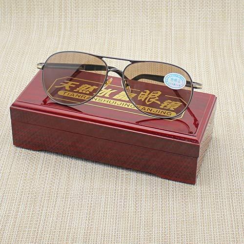 LKVNHP Hohe Qualität Glas Sonnenbrille Männer Luftfahrt Braun Anti Dry Natürliche Kristall Objektiv Sonnenbrille Für Mann Anti Reflexion Uv400Grau Rahmen