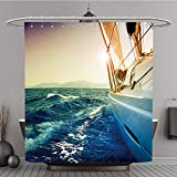 Duschvorhang 84543808Yacht Segeln vor Sonnenuntergang. Segelboot. Polyester-Sepia-Bad Vorhang, Polyester, multi, 72W By 72L Inch