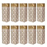 Set di 10 Sacchetti regalo per bottiglie borse portabottiglia color oro ideali per vino, spumante o champagne 36x12x10 cm