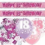Unique Einzigartige bpwfa-4175 Glitz 18. Geburtstag Folie Banner Party Deko-Set, pink