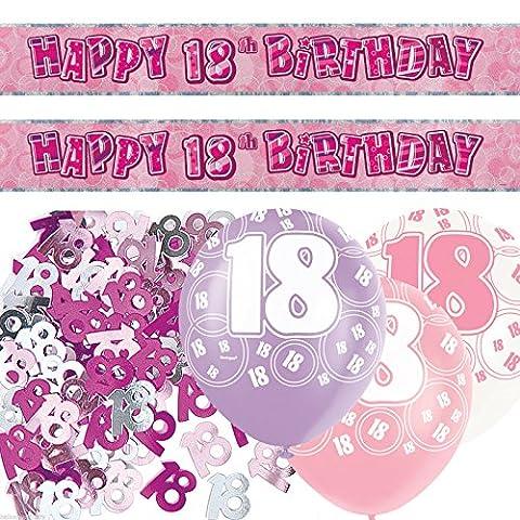 Banner-Set zum 18. Geburtstag, Party-Dekoration, Rosa/Silber mit Glitzer
