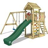 WICKEY Parco giochi in legno MultiFlyer tetto in legno, Giochi da giardino con altalena e scivolo verde, Casetta da gioco per
