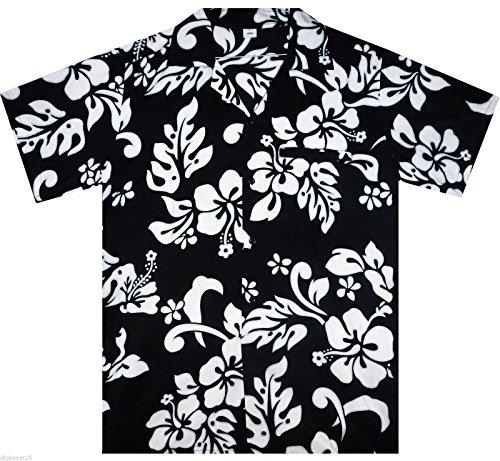 Funky Camisa Hawaiana, Hibiscus, negro , S