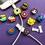 PrintOctopus | Cartoon Cable Protector Set of 10 - Wire Protector for iPhone | Cord Protector for Apple (10 Pieces)