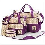 Wefun 5 TLG Wickeltasche Set Wickelzubehör Flaschenhalter Wasserdichte Pflegetasche Kindertasche Babytasche Tragetasche Handtasche (Lila)