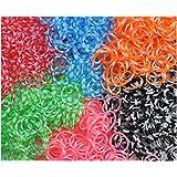 """600 Elastiques + Attaches """"S"""" pour bracelets - Avec senteur, unis, panachés, rayés, à pois, """"casino"""", translucides, bicolores, multicolores"""