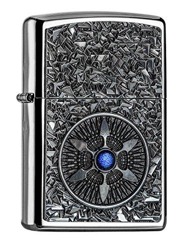 Zippo PL Star Blue Center Feuerzeug, Messing, Edelstahloptik, 1 x 3,5 x 5,5 cm