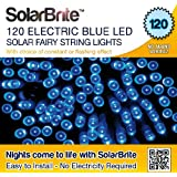 Solar Brite Deluxe BLUE Solar Fairy Lights 120 LED Super Bright Decorative String, choice of light effect. Ideal for Trees, Gardens, Parties & More...