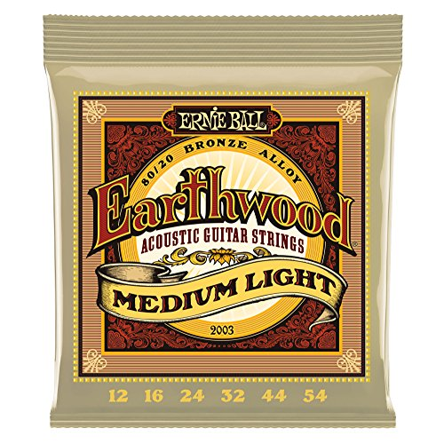 Ernie Ball Earthwoo d Medium Light 80/20 Bronze Akustikgitarre Saiten - 12-54 Gauge -