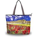 JSTEL Große Handtasche für Damen, mit Tragegriff oben, Schultertasche, Mohnblumenblau, Himmel-Muster, L