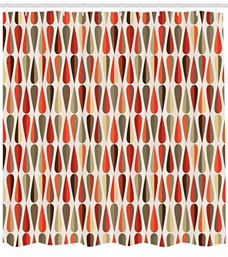 ABAKUHAUS Retro Duschvorhang, 70er Jahre Retro-Stil, Personenspezifisch Druck inkl.12 Haken Farbfest Dekorative mit Klaren Farben, 175 x 200 cm, ()