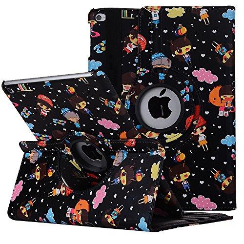 Smart Case für iPad 2, elecfan Mode Cartoon Niedlich Flip Folio Stand Fall Voller Körper Schutz Premium Kunstleder Smart Cover mit 360 Grad für Apple iPad 2 / 3 / 4 (schwarz)