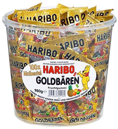 HARIBO Goldbären Dose, 4 x 100 Minibeutel, 4 x 980g (Süßigkeiten Ananas-gummibärchen)