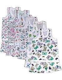 Kids Summer White Printed Sleeveless Top & Shorts - Pack of 6