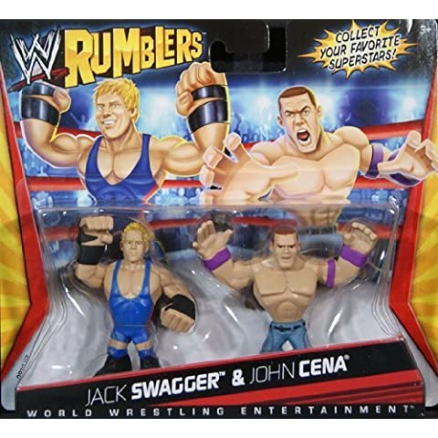 JACK SWAGGER & JOHN CENA - WWE RUMBLERS TOY WRESTLING ACTION FIGURES by MATTEL