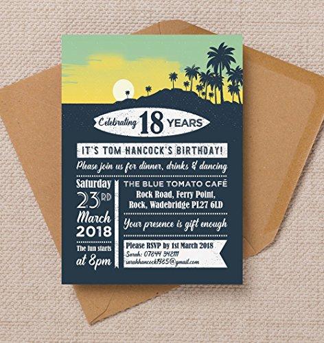 (personalisierbar Surf Mottoparty Geburtstag Einladungen mit Umschlägen (10Stück))