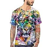 Männer 3D Gedruckt T-Shirts Sommer Übersteigt T-Stücke Drucken T-Shirt O-Ansatz Kurzhülse Mode T-Shirts Tiger XX-Large