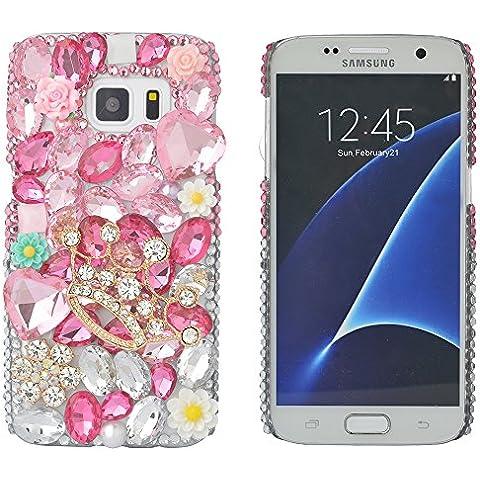 'Spritech (TM) Bling Cover, 3d Handmade design colorato cristallo trasparente rigida per cellulare, pink,crown, Samsung Galaxy S7